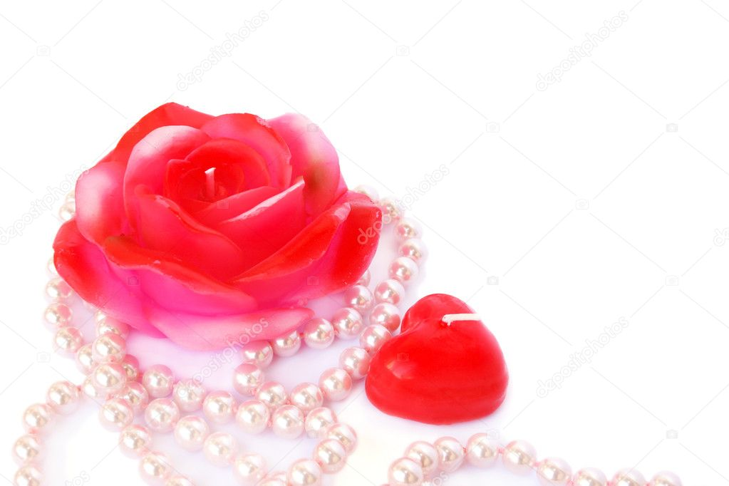 Heart and rose shape red candles, necklace isolated on white background. — Stock Photo #8079944