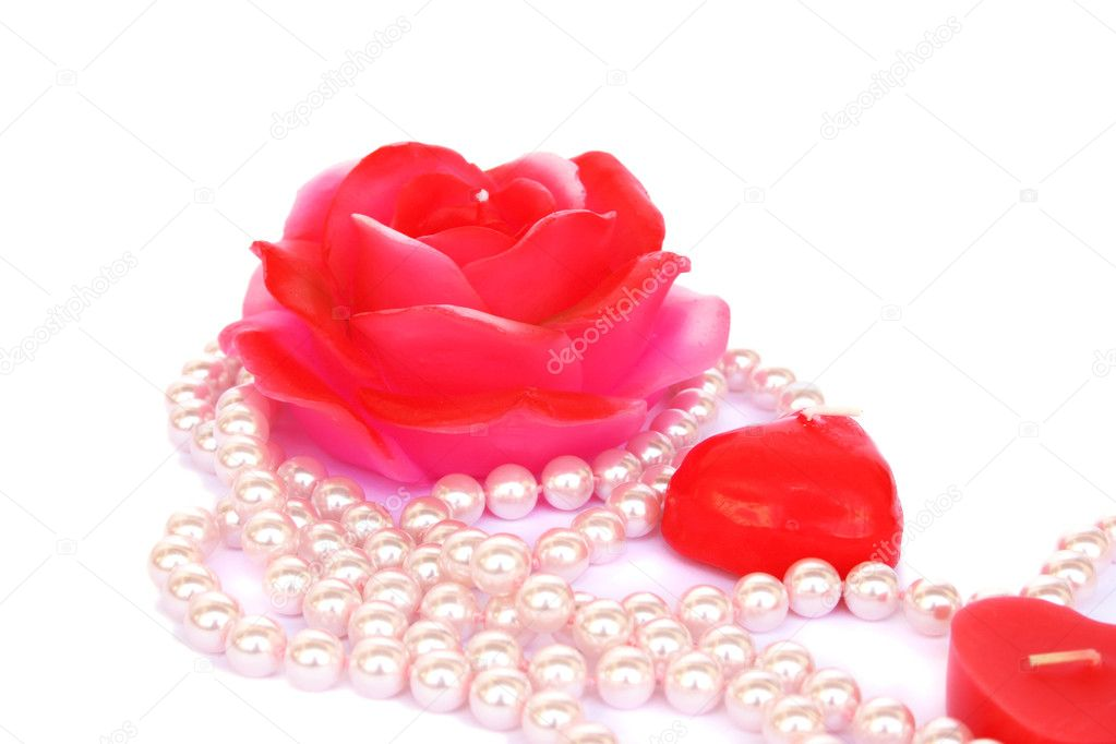 Heart and rose shape red candles, necklace isolated on white background. — Stock Photo #8080020