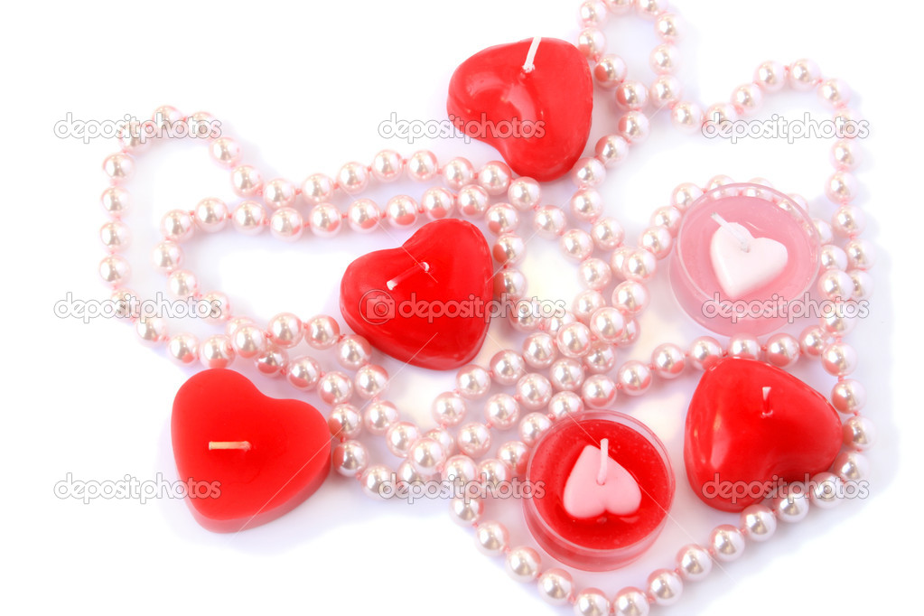 Heart shape red candles and necklace isolated on white background. — Stock Photo #8080068