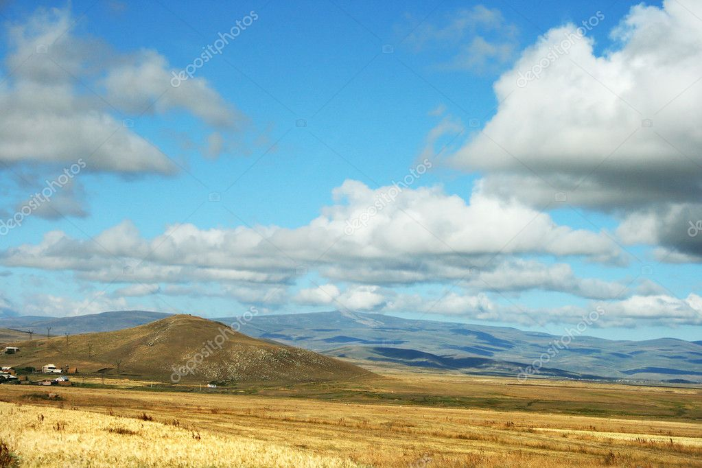 Landscape with  mountains and clouds in Armenia.  Stock Photo #8850340