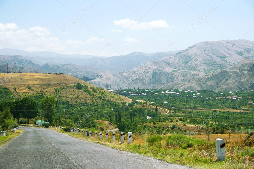 Armenian landscape with mountains and village. — Stock Photo #8850599
