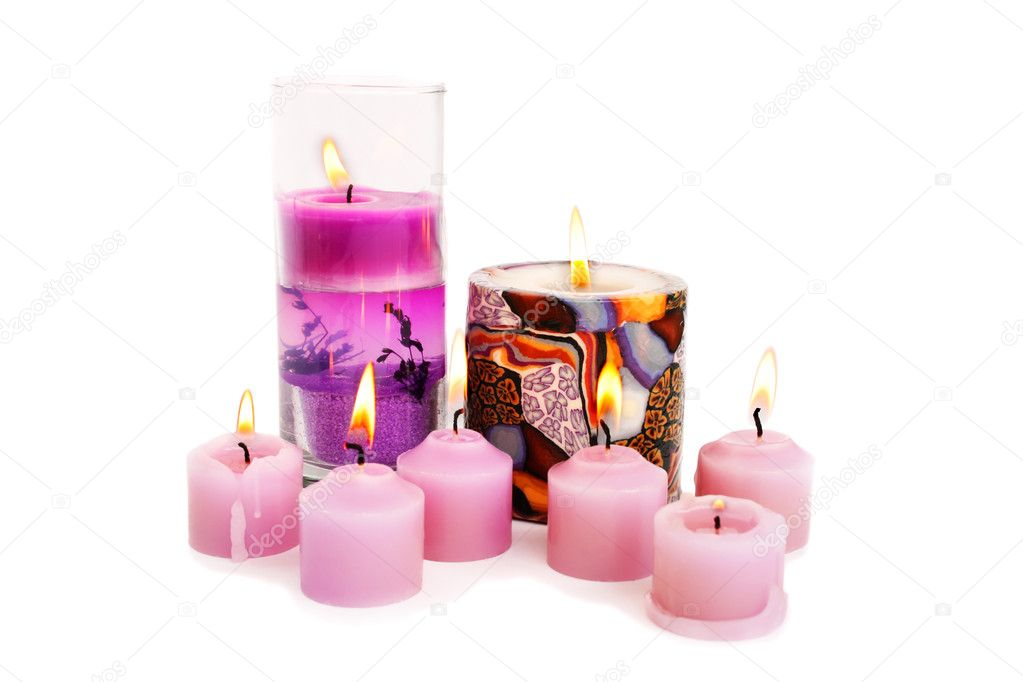 Pink burning candles isolated on white background. — Stock Photo #8855134