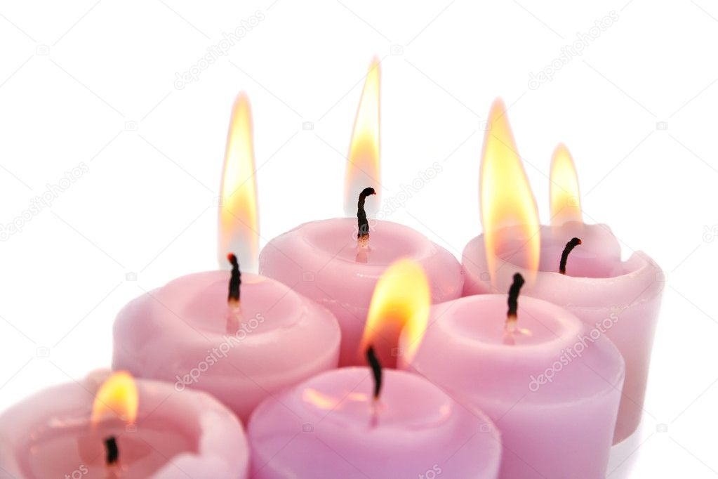 Pink burning candles isolated on white background. — Stock Photo #8855172