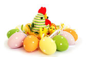 Easter eggs and hen — Stock Photo