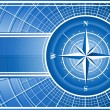 Blue background with compass rose. - Image vectorielle