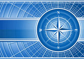 Blue background with compass rose. — Vector de stock