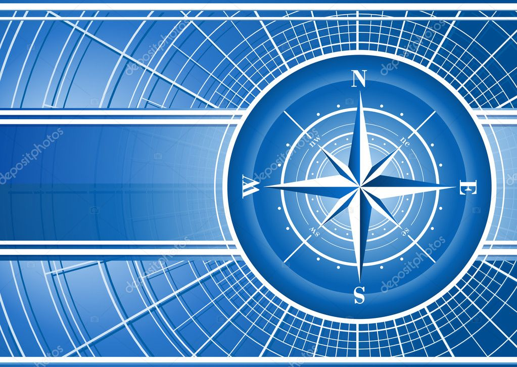 Blue background with compass rose. Includes vector EPS 10 — Stock Vector #8070808