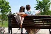 Dating on bench — Stock Photo