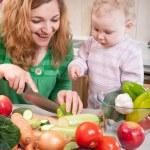 Vegetable salad preparation — Stock Photo #9864373