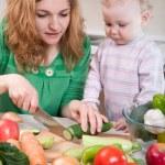 Vegetable salad preparation — Stock Photo