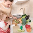 Vegetable salad preparation — Stock Photo