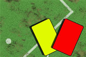 Part of soccer football field and cards — Stock Photo
