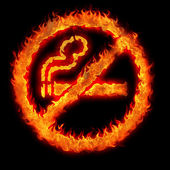 Burning no smoking sign — Stock Photo