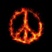 Burning hippy antiwar peace sign — Stock Photo