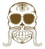 Vector illustration of sugar skull with mustaches — Stockvektor
