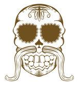 Vector illustration of sugar skull with mustaches — Stock Vector