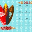 Royalty-Free Stock Vector Image: Vector blue Aloha calendar 2012 with surf boards