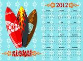 Vector azul aloha calendario 2012 con tablas de surf — Vector de stock
