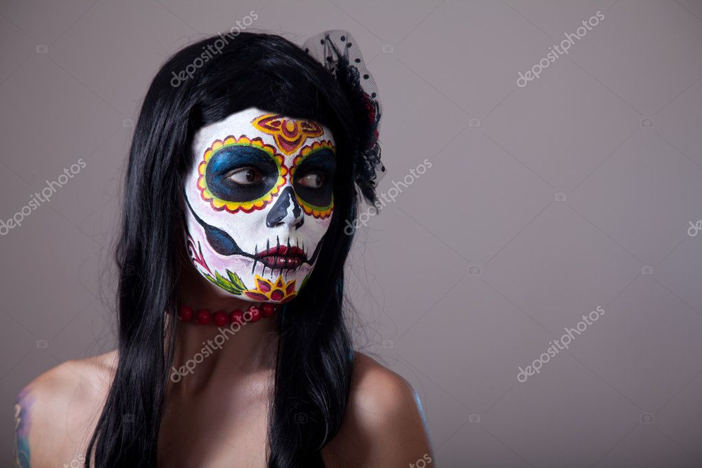 Sugar skull girl portrait, studio shot — Stock Photo #9110479