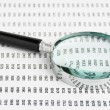 Stock Photo: Magnifying glass and document with figures