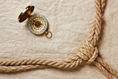 Compass, old paper and rope — Stock fotografie