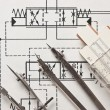 Engineering tools on technical drawing - Stockfoto