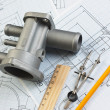 Stockfoto: Automotive parts and drawing