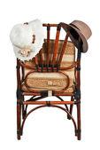 妇女和男子的帽子在椅子背上 — 图库照片