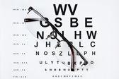 Bril op gezichtsvermogen test-chart — Stockfoto