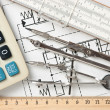 Engineering tools on technical drawing — Stock Photo #8390504