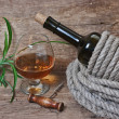 Glass of wine and a bottle — Stock Photo #8390575