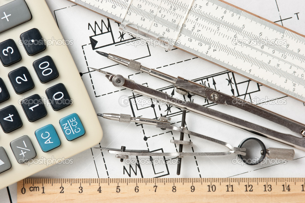 Engineering tools on a technical drawing — Stock Photo #8390504