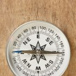 Compass on wooden background - Stok fotoraf