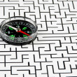 Compass on background of the labyrinth — Stock Photo