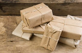 Stack parcel in warehouse — Stock Photo