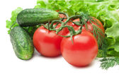 Tomato, cucumber and lettuce salad isolated — Stock Photo