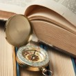 Compass and old books — Foto Stock