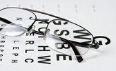 Brille auf sehkraft testform — Stockfoto