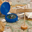 Stock Photo: Old map and compass
