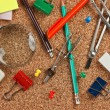 Office supplies in a mess on the table — Lizenzfreies Foto