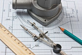 Automotive parts and drawing — Stockfoto
