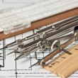 Engineering tools on technical drawing — Stockfoto #9679911
