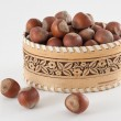 Basket with hazelnuts — Foto Stock