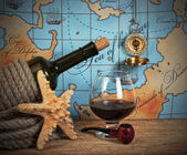 Bottle and glass of wine — Stock Photo