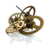 Clockwork gears isolated on white — Stock Photo