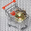Alarm clock in a shopping basket - Stok fotoraf