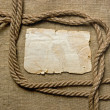 Old paper and rope on canvas — Stock fotografie