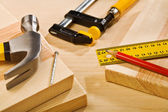 Composition of tools on wooden table — Stock Photo