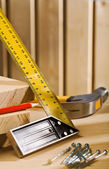 Set-square ruller and other tools — Stock Photo