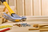 Composição de ferramentas de trabalho — Foto Stock
